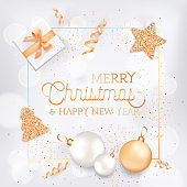Merry Christmas and Happy New Year Elegant Greeting Card with Gift Box, Balls and Festive White and Gold Decoration