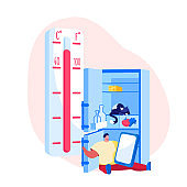 Heat Stroke, Extremal Heating Conditions. Unhappy Male Character Sweating Sitting at Home with Open Refrigerator Suffering of High Temperature at Summer Time Hot Period. Cartoon Vector Illustration