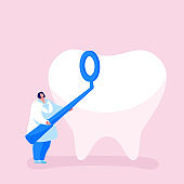 Tiny Dentist Female Doctor Character in White Robe Hold Stomatological Mirror Care of Huge Tooth. Stomatology Clinic, Dentistry Occupation, Caries Prevention and Treatment. Cartoon Vector Illustration