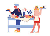 Hotel Staff Serving Breakfast. Female Characters in Uniform Stand at Table with Various Meals for Guests. Hospitality Restaurant Service, Touristic Business Concept. Cartoon People Vector Illustration