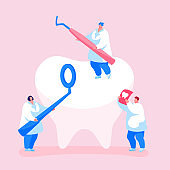 Tiny Dentists Characters Checking Tooth for Caries Hole in Plaque. Doctors Hold Stomatology Mirror, Carver and Xray Image. Dentistry People Working for Dental Care Teeth. Cartoon Vector Illustration