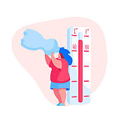 Female Character Suffer of Hot Temperature during Summer Time at Home or Outside. Woman Drinking Water from Bottle Avoiding Heat Stroke under Fierce Heating Sun Rays. Cartoon Vector Illustration
