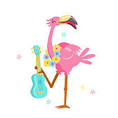 Cute Pink Flamingo in Flower Wreath Play Ukulele Isolated on White Background. Cartoon Character Summer Vacation. Kawaii Personage Summertime Activity and Spare Time. T-shirt Print Vector Illustration