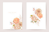 Wedding invitation dried pastel flowers, floral card, dry pampas grass, dahlia watercolor minimal template vector. Botanical golden foliage modern poster, trendy design, luxury background illustration