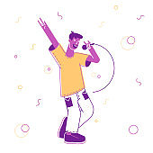 Happy Man Having Fun Singing at Karaoke Bar or Night Club. Male Character with Great Mood Having Party Performing Song at Birthday or Event Celebration. Cartoon Flat Vector Illustration, Line Art