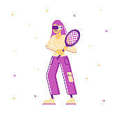 Woman in Sports Wear and Vr Goggles Holding Tennis Racket in Hands Ready to Play Virtual Sport Game. Augmented Reality Entertainment, Recreation Leisure Cartoon Flat Vector Illustration, Line Art