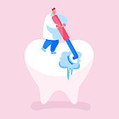 Tiny Dentist Doctor Character Cleaning or Polishing of Huge Tooth with Rolling Brush. Stomatology Clinic Care Service, Dentistry Occupation, Caries Prevention or Treatment. Cartoon Vector Illustration