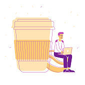 Young Hipster Sit with Laptop in Hands on Coffee Bean near Huge Plastic Cup with Hot Beverage Isolated on White Background. Remote Freelance or Office Job Cartoon Flat Vector Illustration, Line Art