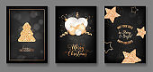 Set of Happy Holidays, Merry Christmas and New Year Elegant Greeting Cards, Shining Gold Fir Tree, Glitter, Xmas Balls