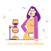 Vacuum Pot or Syphon Coffee Making Concept. Woman Bartender or Waitress Demonstrate Coffee Brewing Method Poster, Menu Banner, Cafe Flyer or Brochure. Cartoon Flat Vector Illustration, Line Art