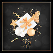 elegant merry christmas card with rose gold glitter christmas balls, stars, christmas tree for invitation or greetings or flyer and new year brochure 2019