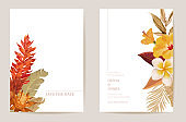Wedding invitation dried tropical palm leaves, dry tropic flowers card, watercolor minimal template vector. Botanical Save the Date foliage modern poster, trendy design, luxury background