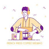 Male Bartender or Hipster Character Make Brewing French Press Coffee Concept. Coffee Shop Poster, Advertising Banner, Hot Drinks menu Flyer, Cafe Brochure. Cartoon Flat Vector Illustration, Line Art