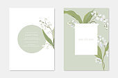 Wedding Invitation Cards with Floral Design Set. White Lily of the Valley Flowers on Stem with Leaves Decoration. Romantic Frame with Greenery, Save the Date Postcard Template Vector Illustration