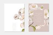 Romantic Trendy Wedding Ceremony Invitation Cards Set. White Cherry Sakura Flowers with Leaves on Beige Background. Nature Art Poster Banner Flyer Brochure Templates Cartoon Flat Vector Illustration