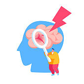 Tiny Male Character Holding Magnifying Glass Looking on Huge Human Head with Apoplexy Attack or Brain Stroke. Insult Disease Symptoms, Neuroscience and Neurosurgery. Cartoon Vector Illustration