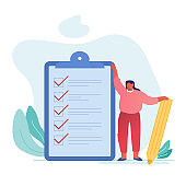 Businesswoman with Pencil Stand at Checklist with Marks in Check Boxes on Huge Clipboard. Business Woman Planning, Presenting Task Solutions and Thinking New Ideas. Cartoon Flat Vector Illustration