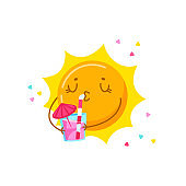 Cute Cartoon Sun Character Drinking Cocktail Isolated on White Background. Kawaii Personage Relaxing on Summer Vacation, Summertime Activity, Resort Spare Time. T-shirt Print. Vector Illustration