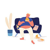 Unhealthy Eating Bad Habit Concept. Fat Man Sitting on Couch at Home with Plenty of Fast Food Contain Carbohydrates and Oils, Fastfood Addiction, Obesity Cartoon Flat Vector Illustration, Line Art