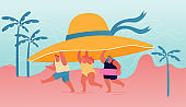 Summer Time Season, Vacation Concept. Tiny People Carry Huge Tropical Hat Enjoying Summertime Holidays, Relaxing on Beach. Characters Playing on Seaside of Exotic Resort. Cartoon Vector Illustration