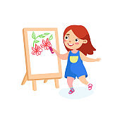 Happy Child Character Painting on Easel. Girl Drawing Flowers on Canvas or Paper. International Kids or Peace Day Holidays, Back to School, Childhood, Happiness Concept. Cartoon Vector Illustration