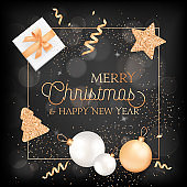 Merry Christmas, Happy New Year Elegant Greeting Card with Gift Box, Balls and Decoration in Gold Color with Glitter
