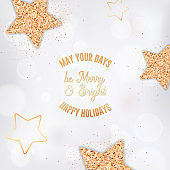 Elegant Postcard with Gold Stars and Glitter on White Blurred Background. Happy Holidays Greeting Card for Christmas