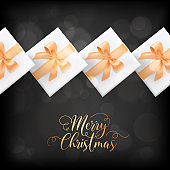 Winter Holidays Postcard, Merry Christmas Elegant Card with Xmas Gifts. Festive Season Wrapped Presents, Gold Decoration
