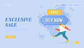 Total Sale and Festive Discount Website Landing Page. Shopaholic Walk near Huge Buy Now Button. Happy Man Online Shopping Recreation, Price Off Promo Web Page Banner. Cartoon Flat Vector Illustration