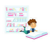 Back to School, Education or Learning Concept. Kid Lying on Floor Reading Book. School Boy Student Prepare to Exam, Schoolboy Character Gaining Knowledge, Lesson, Homework. Cartoon Vector Illustration