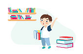 Little Boy with Books and Backpack Stand in Classroom Waving Hand Greeting Classmates and New Educational Year. Back to School Education, Knowledge. Kid Character in Class. Cartoon Vector Illustration