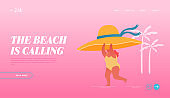 Summertime Vacation, Holiday and Active Lifestyle Landing Page Template. Young Happy Overweight Woman Character Hold Huge Tropical Hat in Hand Run along Summer Sandy Beach. Cartoon Vector Illustration