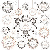 Winter Wreath, Christmas Vintage typographic, New year labels, badges, Calligraphic Design Elements, Holiday Page Decoration, Swirls Frames for Invitation, Xmas Card Greetings. Vector Illustration Set