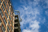 Old industrial architecture from the early 20th century and blue sky