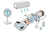 First aid for heat stroke (male)
