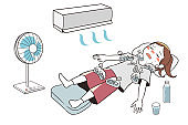 First aid for heat stroke (female)