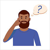 Portrait of young black beard man with question mark in think bubble. People thinking or solving problem. Dilemma vector flat cartoon concept illustration.