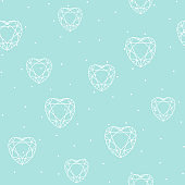 Seamless pattern with polygonal heart . Vector background