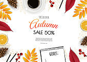 Autumn sale flyer template. Bright fall leaves. Poster, card, label, banner design.