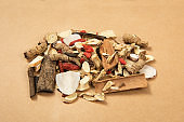 Chinese herbal medicine selection on brown paper