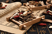 Chinese herbal medicine selection on calligraphy background