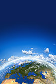 Earth and blue sky. Climate safety concept image.