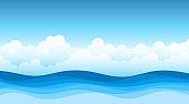 Blue sea wave flowing with white soft clouds cartoon, sky background landscape vector.