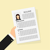 Flat resume in hand, work business document, vector illustration