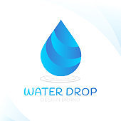 Water drop aqua blue color logo design isolated on white abstract background
