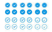 blue icons official checkmark set isolated in flat style