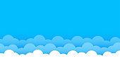 Clouds on top blue sky landscape outdoor flat cartoon