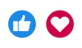 like and heart web buttons in flat style, vector