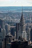 Manhattan Midtown buildings top view. New York