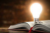 Light bulb on the  open book. Idea and creativity concept background. 3